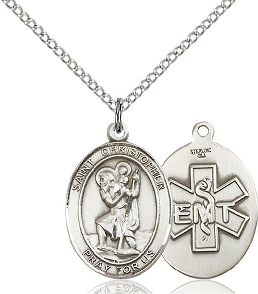 St. Christopher / EMT Pendant St. Christopher / Emt ,Travelers , Hazards when traveling and Motorist.,Unusual & Specialty,EMT, sterling silver medals, gold filled medals, patron, saints, saint medal, saint pendant, saint necklace, 8022,7022 EMT,9022 EMT,